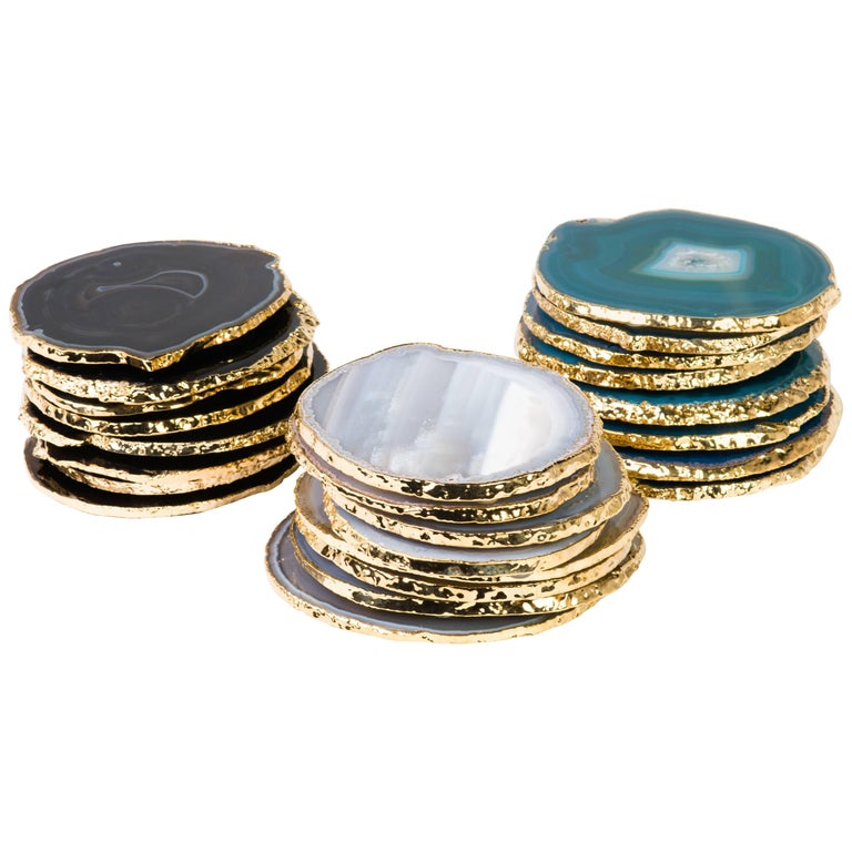 Organic Modern Set of Eight Semi-Precious Gemstone Coasters in Black Agate with 24 K Gold Trim For Sale