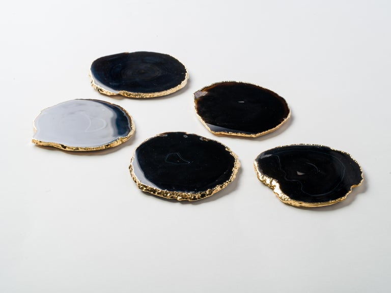 Set of Eight Semi-Precious Gemstone Coasters in Black Agate with 24 K Gold Trim In Excellent Condition For Sale In Miami, FL