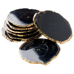 Set of Eight Semi-Precious Gemstone Coasters in Black Agate with 24 K Gold Trim
