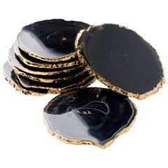 Set of Eight Semi-Precious Gemstone Coasters in Black Agate with 24 K Gold Trim