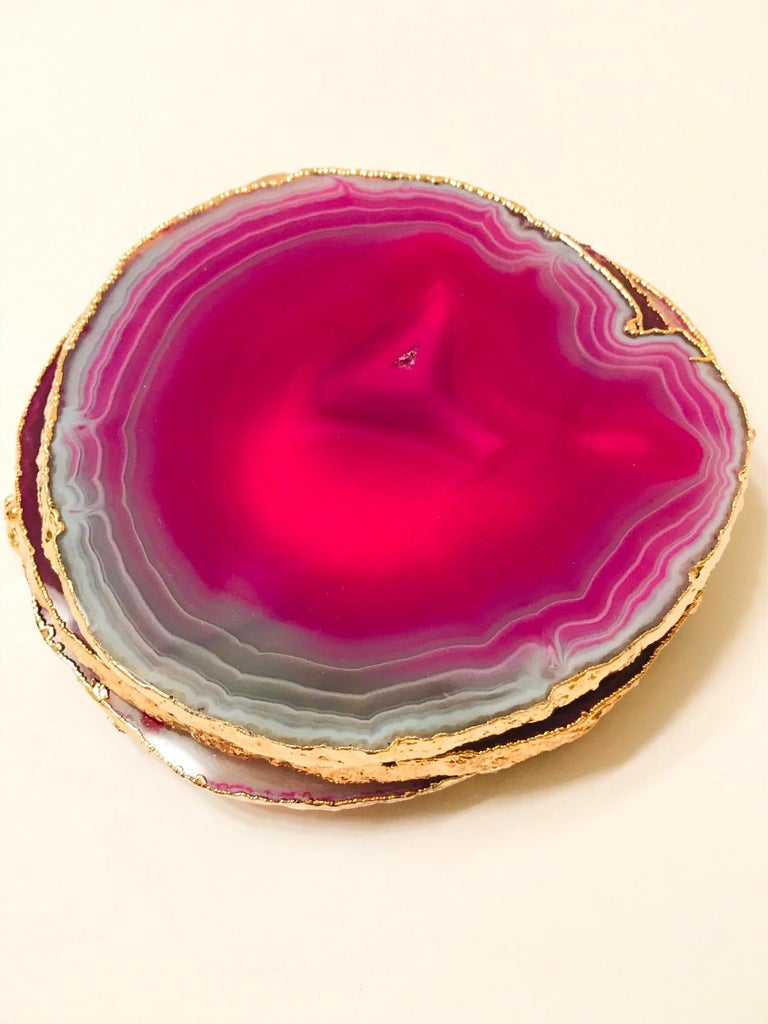 Hollywood Regency Set of Eight Semi-Precious Gemstone Coasters in Fuchsia with 24-Karat Gold Trim For Sale