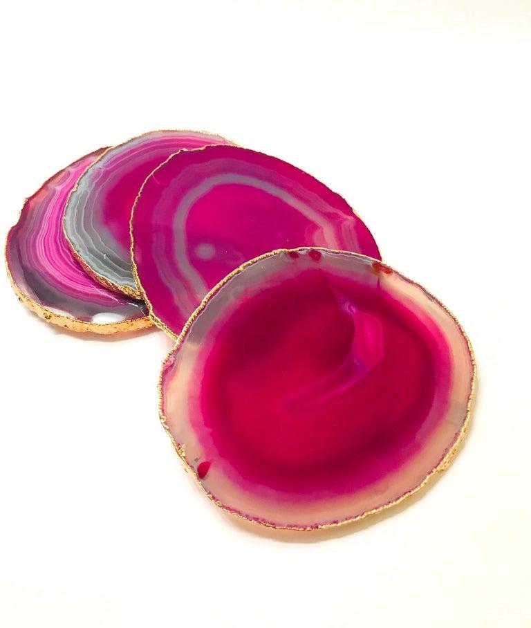Brazilian Set of Eight Semi-Precious Gemstone Coasters in Fuchsia with 24-Karat Gold Trim For Sale