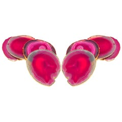 Set of Eight Semi-Precious Gemstone Coasters in Fuchsia with 24-Karat Gold Trim