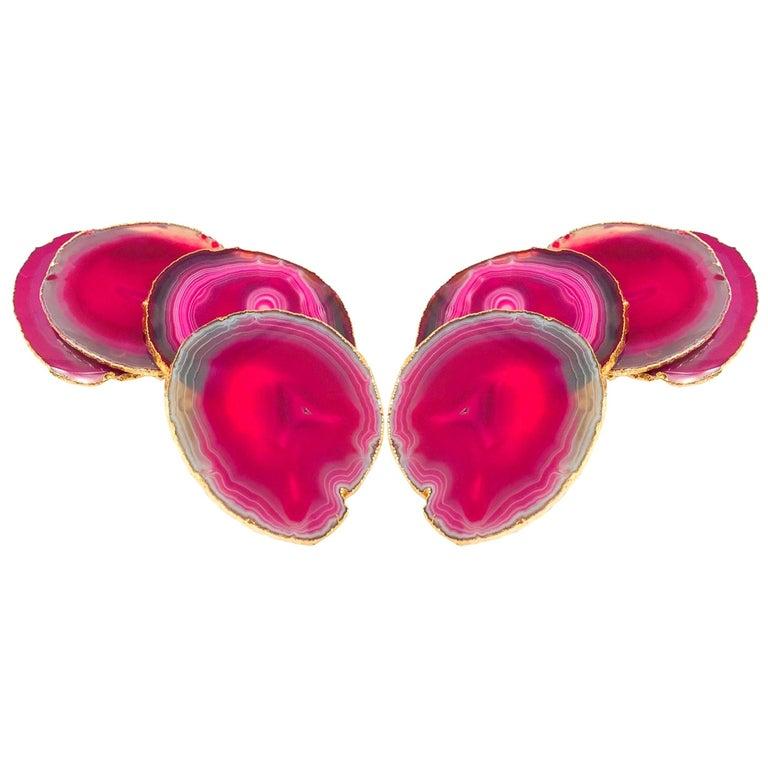Set of Eight Semi-Precious Gemstone Coasters in Fuchsia with 24-Karat Gold Trim For Sale