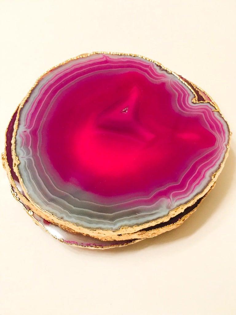 Hollywood Regency Set of Eight Semi-Precious Gemstone Coasters in Fuschia with 24-Karat Gold Trim For Sale