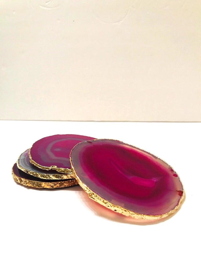 Set of Eight Semi-Precious Gemstone Coasters in Fuschia with 24-Karat Gold Trim For Sale 2