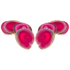 Set of Eight Semi-Precious Gemstone Coasters in Fuschia with 24-Karat Gold Trim