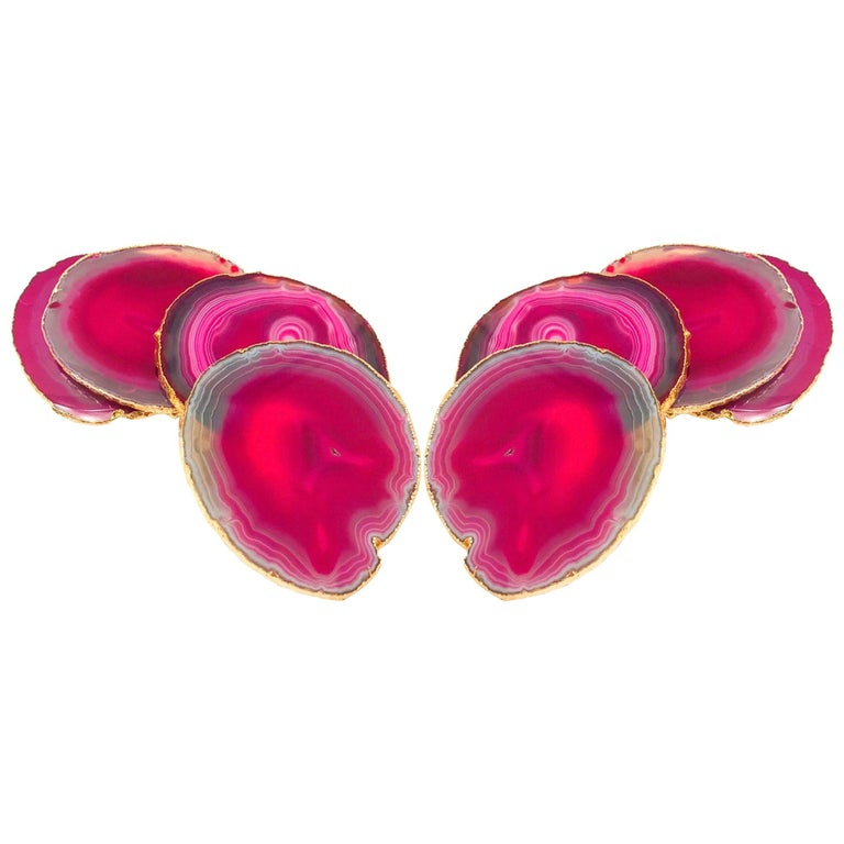 Set of Eight Semi-Precious Gemstone Coasters in Fuschia with 24-Karat Gold Trim For Sale