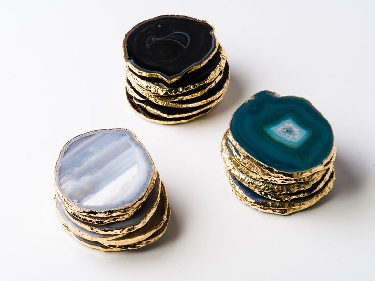 Brazilian Set of Eight Semi-Precious Gemstone Coasters in Teal with 24-Karat Gold Trim For Sale