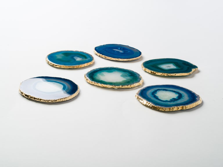 Set of Eight Semi-Precious Gemstone Coasters in Teal with 24-Karat Gold Trim In Excellent Condition For Sale In Miami, FL