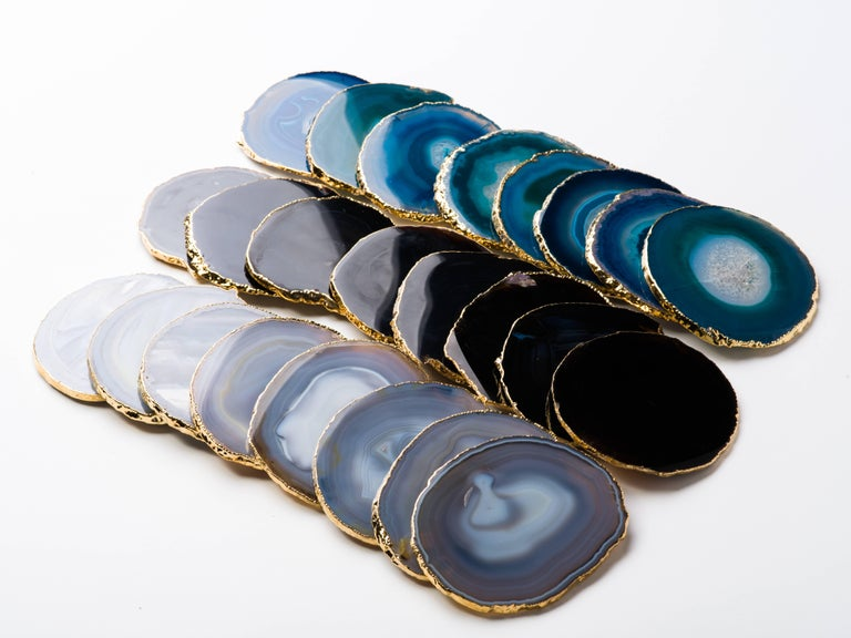 Contemporary Set of Eight Semi-Precious Gemstone Coasters in Teal with 24-Karat Gold Trim For Sale