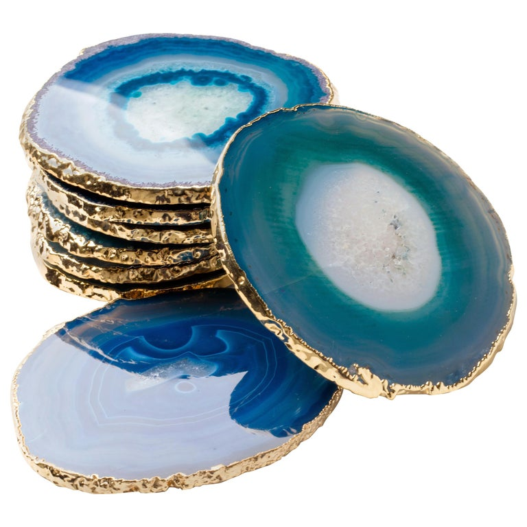 Set of Eight Semi-Precious Gemstone Coasters in Teal with 24-Karat Gold Trim For Sale