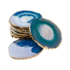 Set of Eight Semi-Precious Gemstone Coasters in Teal Wrapped in 24-Karat Gold
