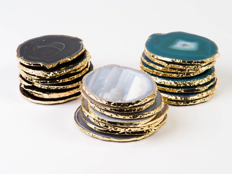 Organic Modern Set of Eight Semi-Precious Grey Agate Gemstone Coasters with 24-Karat Gold Trim For Sale