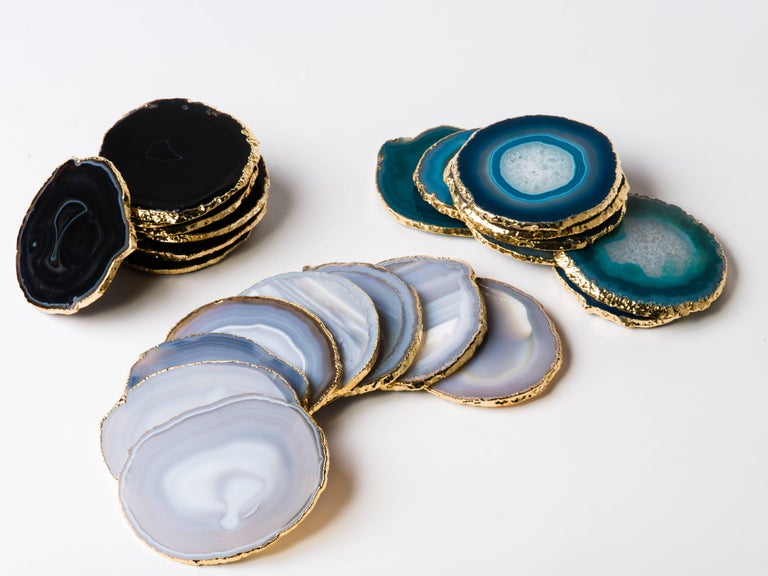 Set of Eight Semi-Precious Grey Agate Gemstone Coasters with 24-Karat Gold Trim For Sale 1