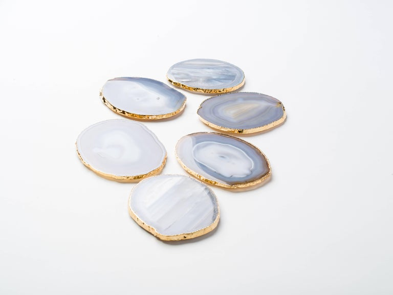 Set of Eight Semi-Precious Grey Agate Gemstone Coasters with 24-Karat Gold Trim For Sale 2