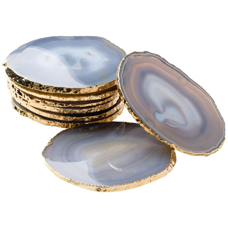 Set of Eight Semi-Precious Grey Agate Gemstone Coasters with 24-Karat Gold Trim For Sale