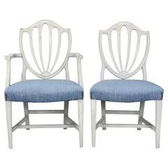 Set of Eight Shield Back Painted Dining Chairs