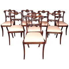 Set of Eight Simulated Rosewood and Brass Inlaid Dining Chairs
