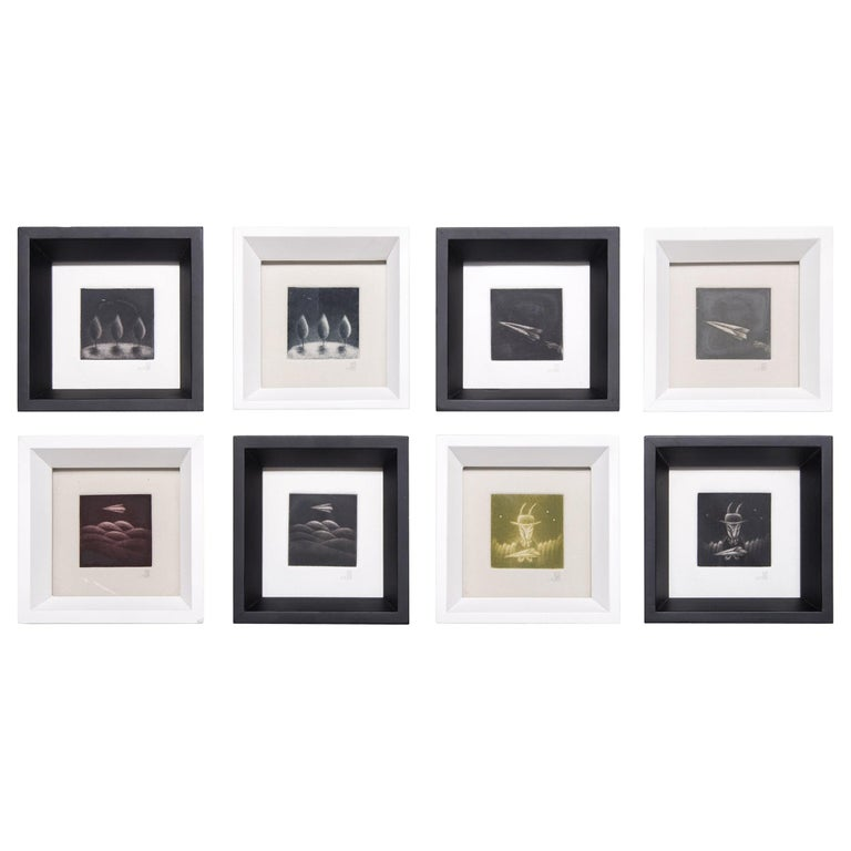 Set of Eight Small Prints by Yoko Tanaka