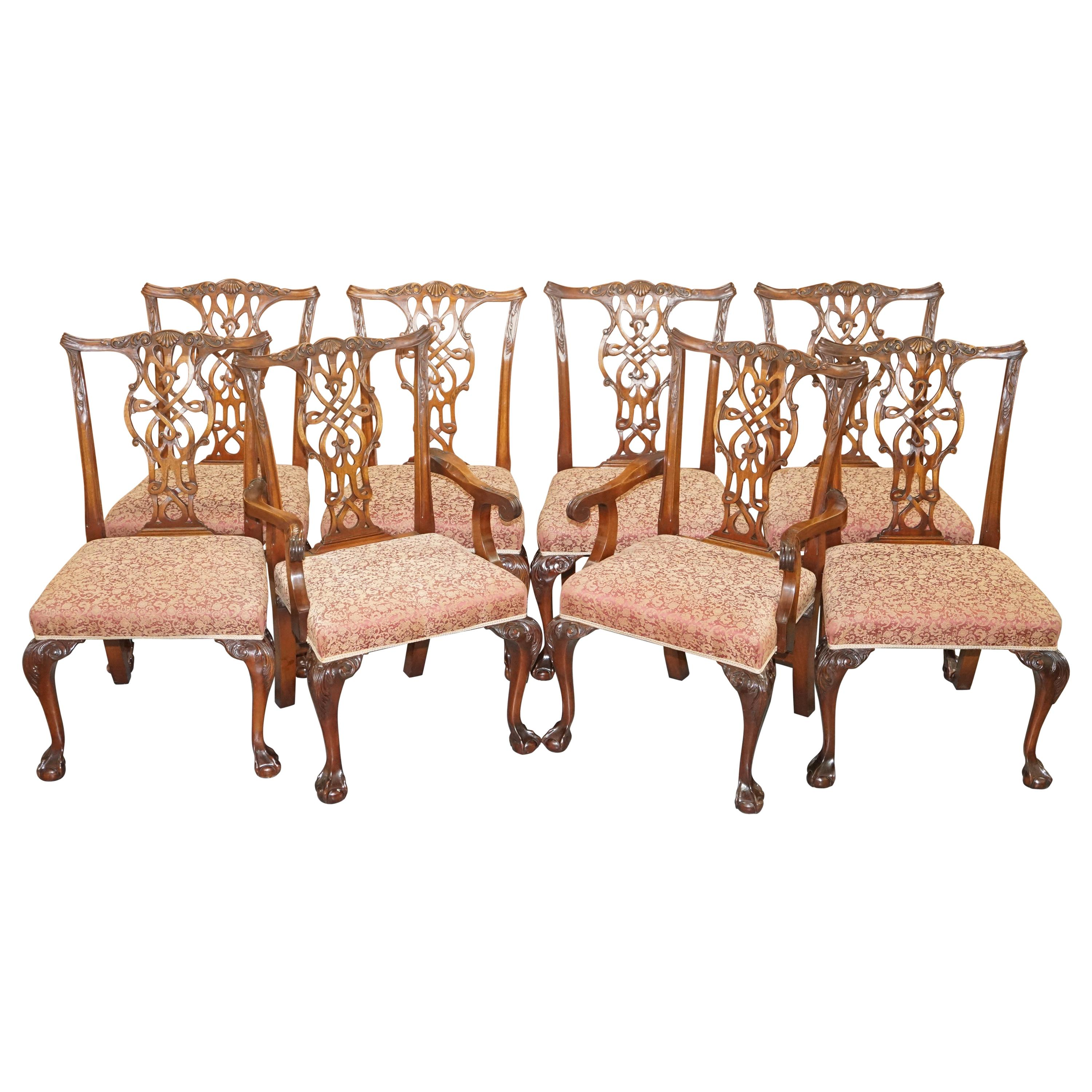 Set of Eight Solid Mahogany Claw & Ball Feet Thomas Chippendale Dining Chairs 8
