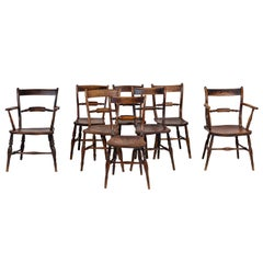 Set of Eight European Farmhouse Dining Chairs