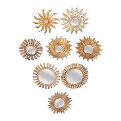 Set of Eight Spanish Sunburst Mirrors