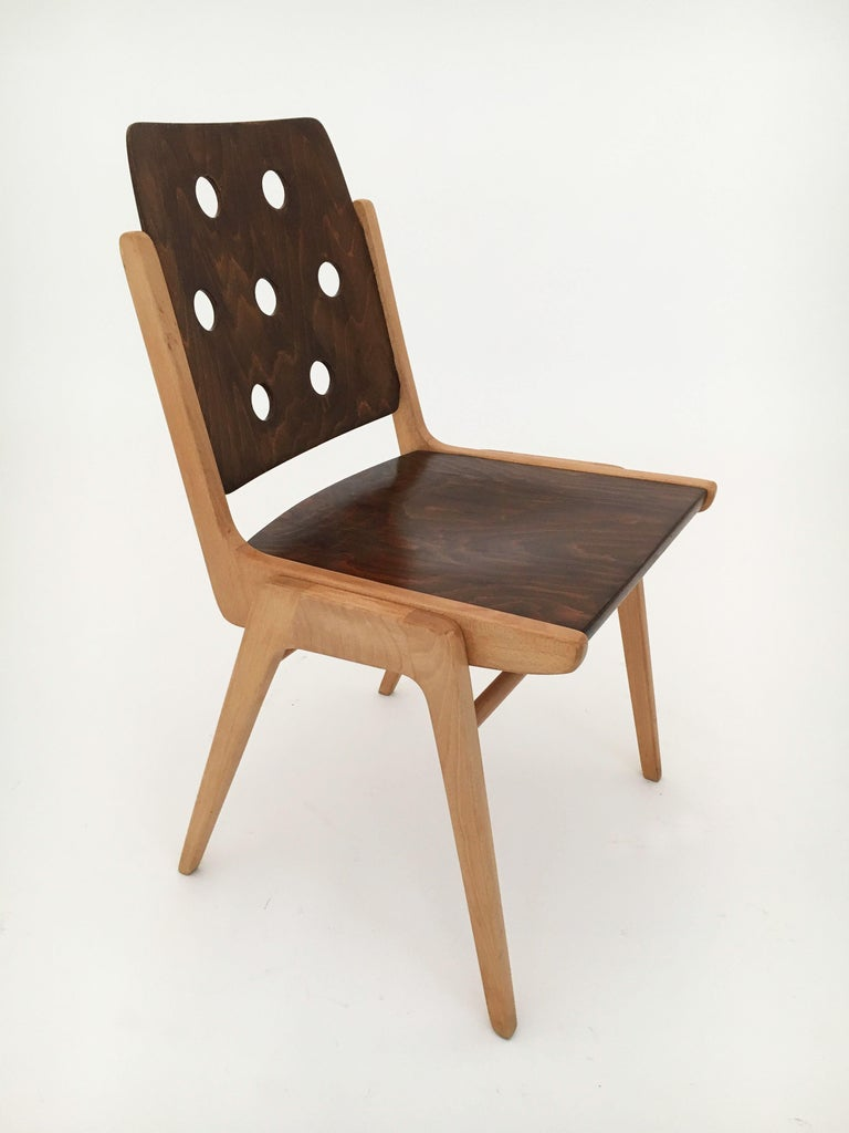 Set of Eight Stacking Dining Chairs Franz Schuster, Duo-Colored, Austria, 1950s For Sale 3