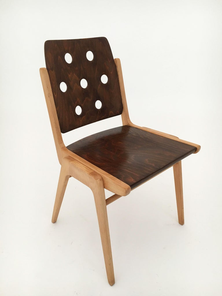 Set of Eight Stacking Dining Chairs Franz Schuster, Duo-Colored, Austria, 1950s For Sale 4