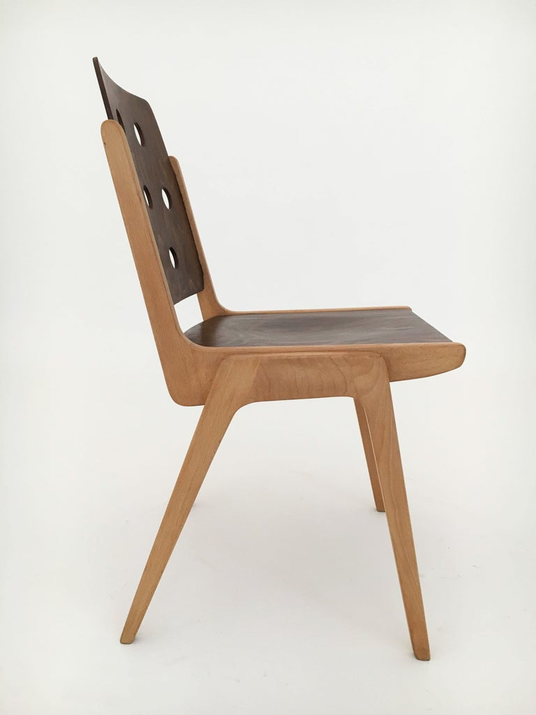 Set of Eight Stacking Dining Chairs Franz Schuster, Duo-Colored, Austria, 1950s For Sale 5