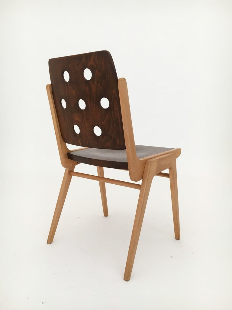 Set of Eight Stacking Dining Chairs Franz Schuster, Duo-Colored, Austria, 1950s For Sale 6