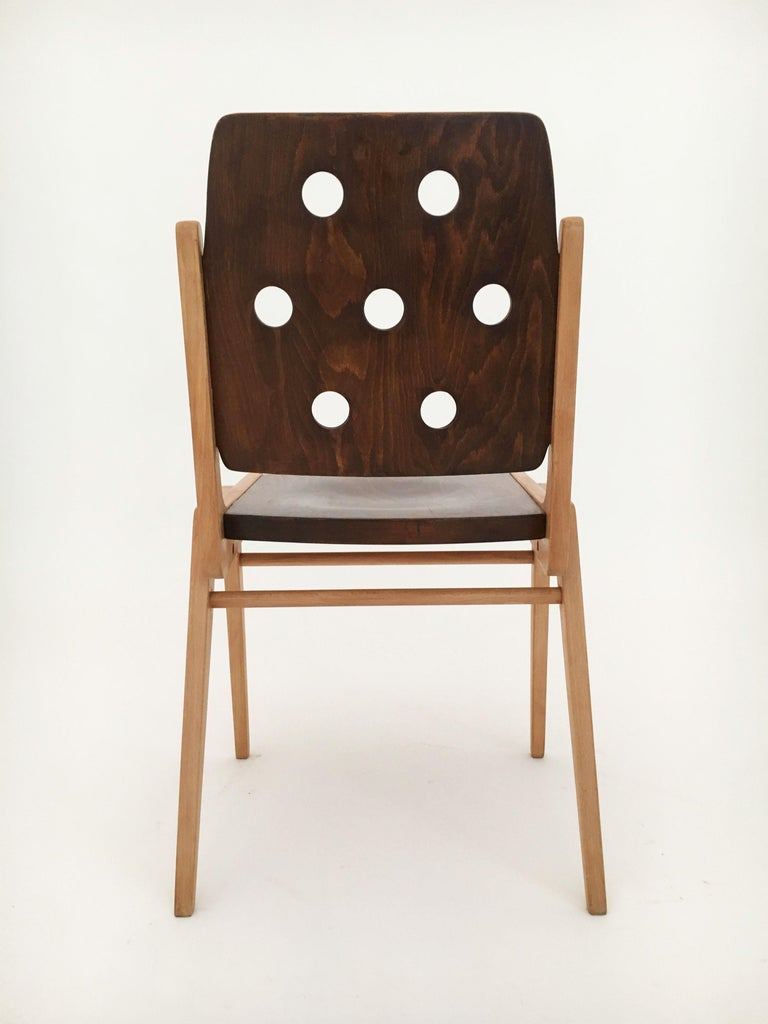 Set of Eight Stacking Dining Chairs Franz Schuster, Duo-Colored, Austria, 1950s For Sale 7