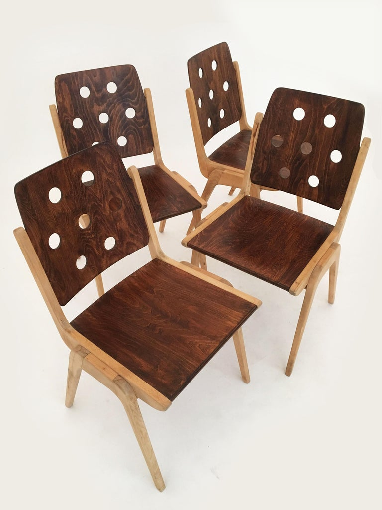 Set of Eight Stacking Dining Chairs Franz Schuster, Duo-Colored, Austria, 1950s For Sale 8