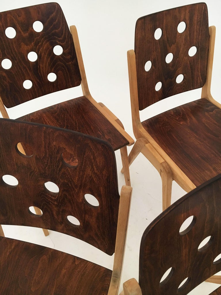 Set of Eight Stacking Dining Chairs Franz Schuster, Duo-Colored, Austria, 1950s For Sale 9