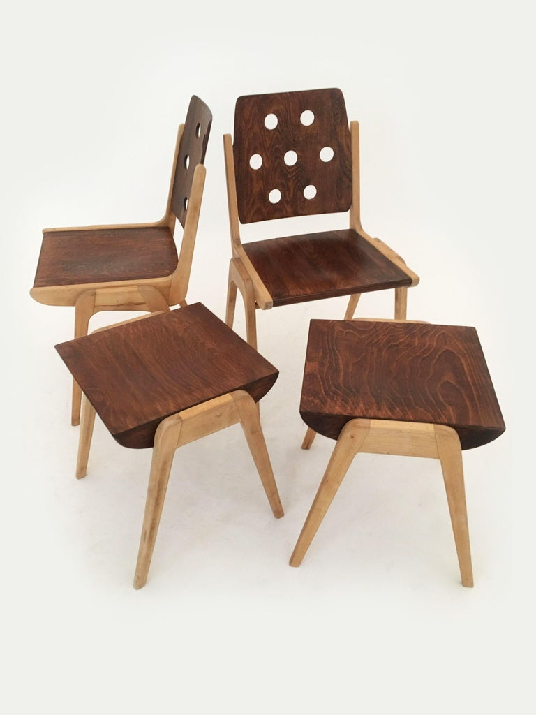 Set of Eight Stacking Dining Chairs Franz Schuster, Duo-Colored, Austria, 1950s For Sale 10