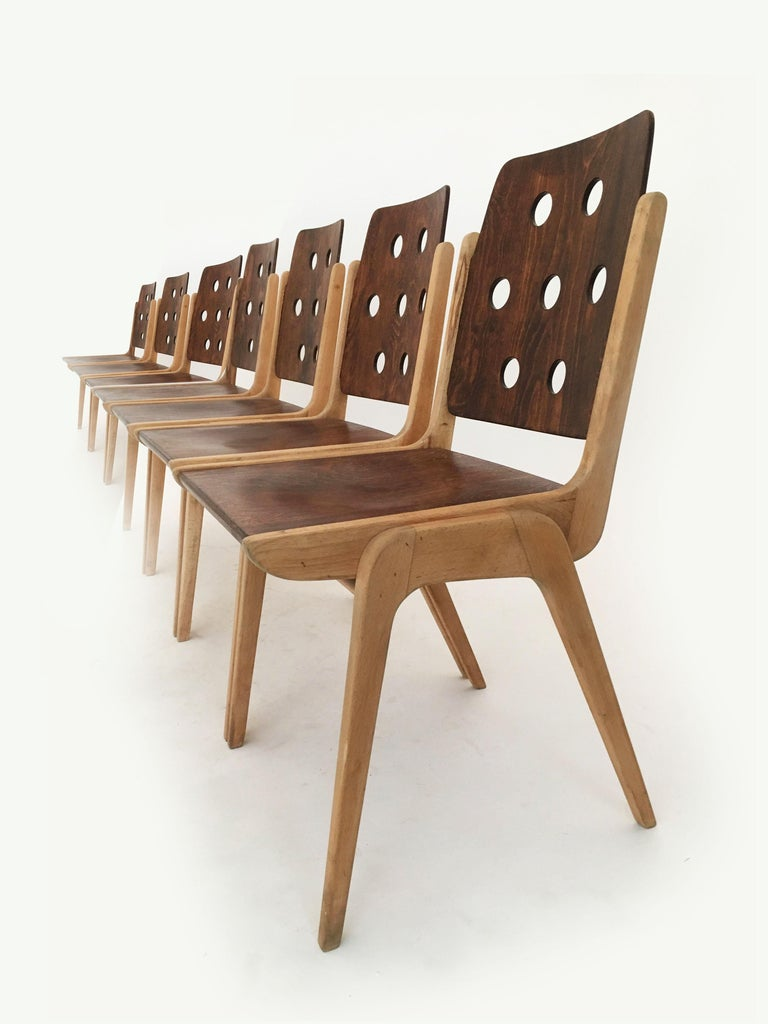 Beech Set of Eight Stacking Dining Chairs Franz Schuster, Duo-Colored, Austria, 1950s For Sale