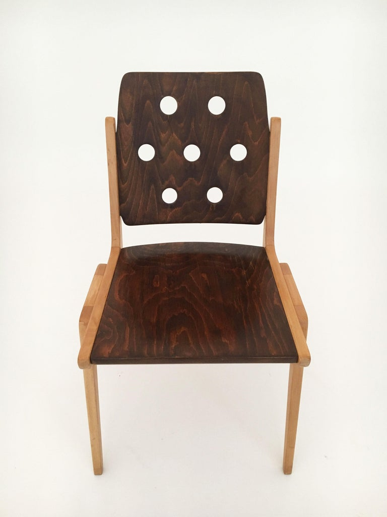 Set of Eight Stacking Dining Chairs Franz Schuster, Duo-Colored, Austria, 1950s For Sale 2