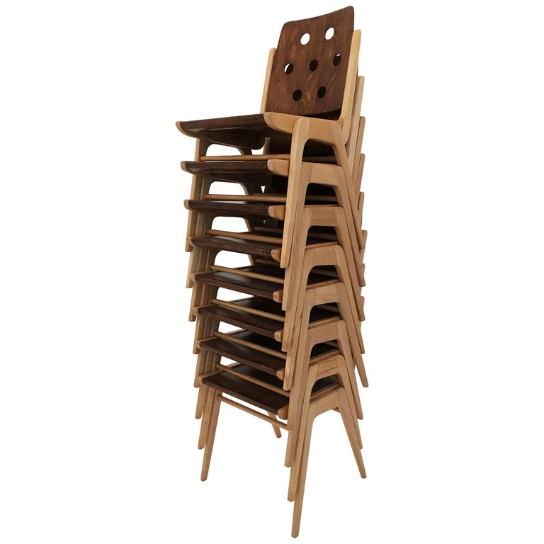 Set of Eight Stacking Dining Chairs Franz Schuster, Duo-Colored, Austria, 1950s For Sale