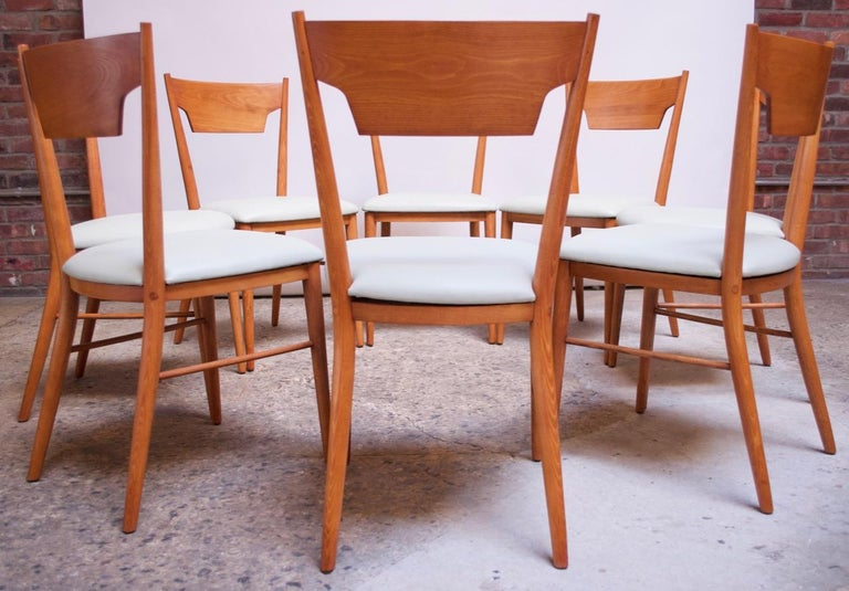 Set of Eight Stained Maple Dining Chairs by Paul McCobb for Perimeter