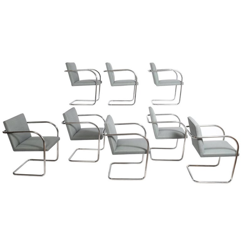 Set of Eight Stainless Steel Brno Chairs by Mies van der Rohe for Knoll Inc. For Sale