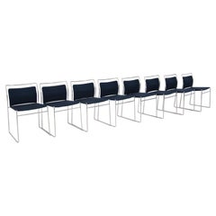 Set of Eight Steel and Cotton Chairs by Kazuhide Takahama