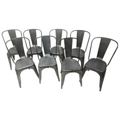 "Set of Eight Steel Stacking ""A"" Chairs Indoor Outdoor Cafe Chairs"