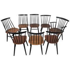 Set of Eight Stick Back Scandinavian Dining Chairs by Thomas Harlev for Farstrup