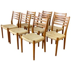 Set of Eight Svegards Markaryd Teak and Papercord Dining Chairs, 1960s