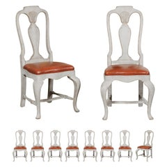 Set of Eight Swedish 1790s Rococo Painted Dining Chairs with Leather Seats