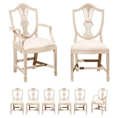 Set of Eight Swedish 19th Century Shield Back Painted Dining Room Chairs