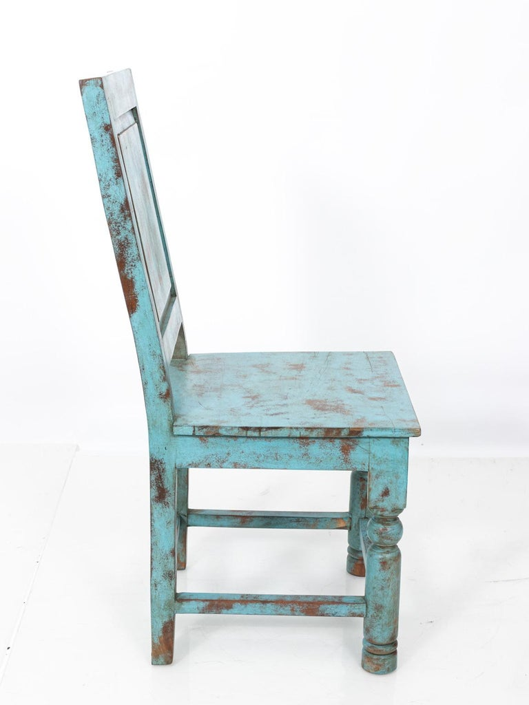 Gustavian Set of Eight Swedish Blue Painted Chairs For Sale