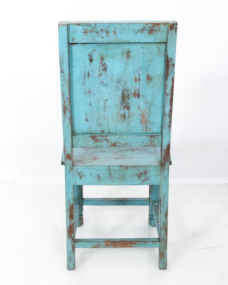 Set of Eight Swedish Blue Painted Chairs In Good Condition For Sale In Stamford, CT