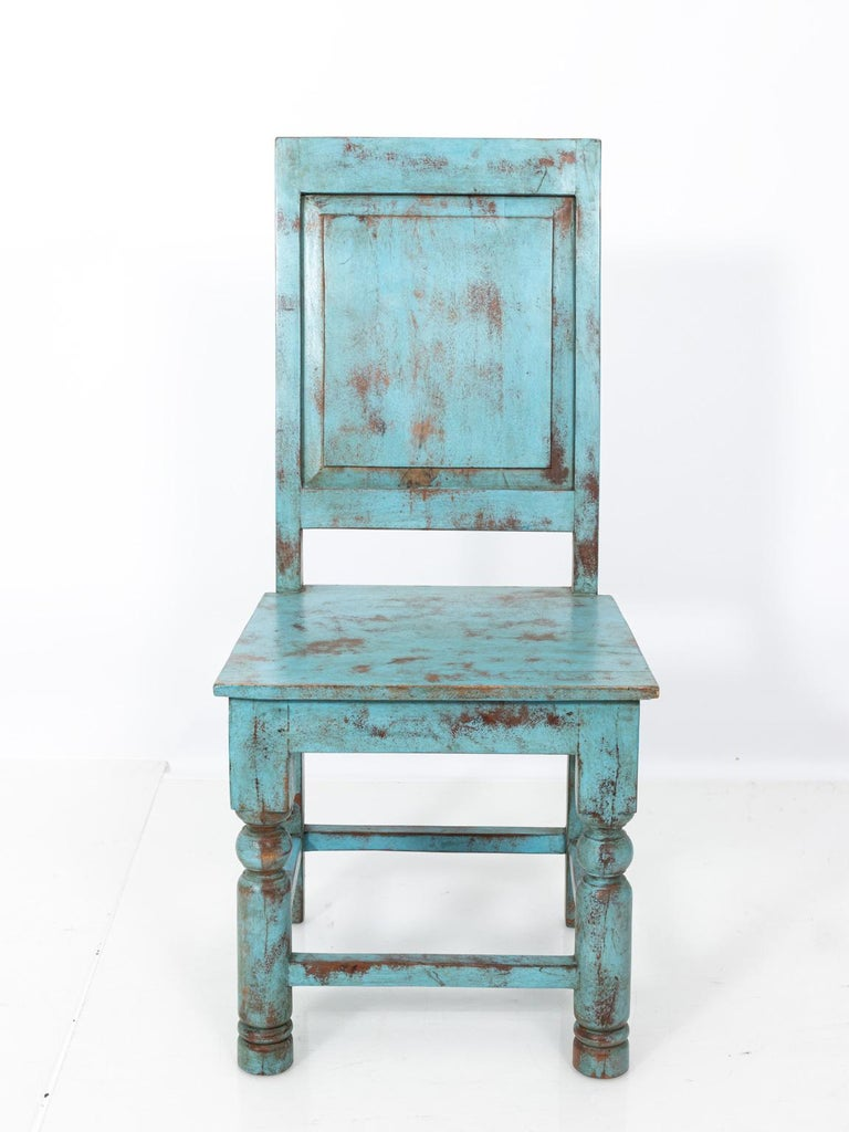 Wood Set of Eight Swedish Blue Painted Chairs For Sale