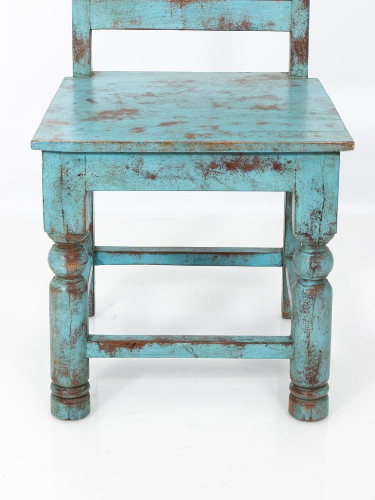 Set of Eight Swedish Blue Painted Chairs For Sale 1